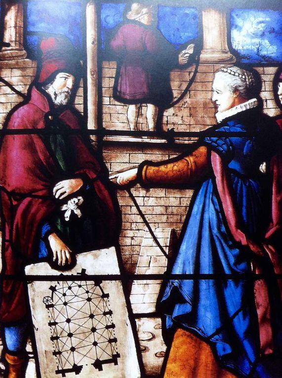 Manuscrit du 12ème siècle construction de la Tour de Babel, Pavage des voies de circulation miniature des chroniques du Hainaut, le Maître d'oeuvre est celui qui sait dessiner et tracer, Un sculpteur au travail XVème siècle, Le Trait, la construction de l'arche,