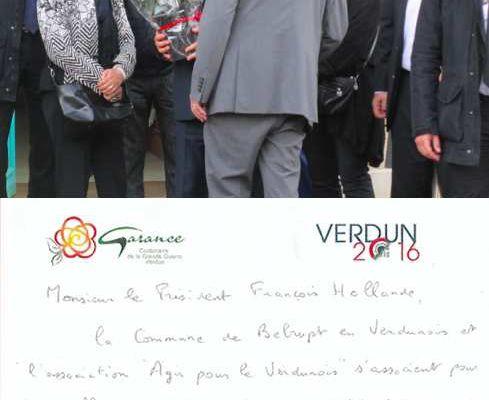 Le président de la République reçoit le rosier 'Garance, Centenaire de la Grande Guerre-Verdun' à Belrupt