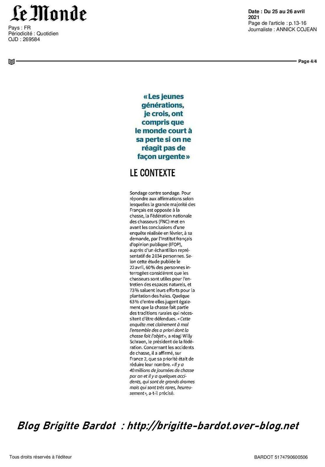 """Interview exclusive de Brigitte Bardot pour le journal """"Le Monde"""""""
