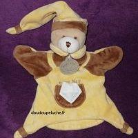 Doudou ours marionnette, jaune marron, Baby nat , mini mouchoir blanc, ENVOI POSSIBLE