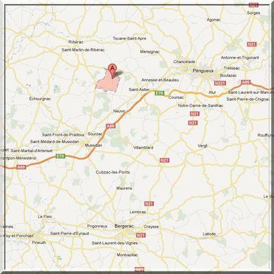 Dordogne - Chantérac - Position église fortifiée sur carte
