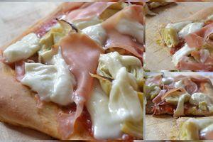 Pizza aux artichauts et jambon de Bayonne