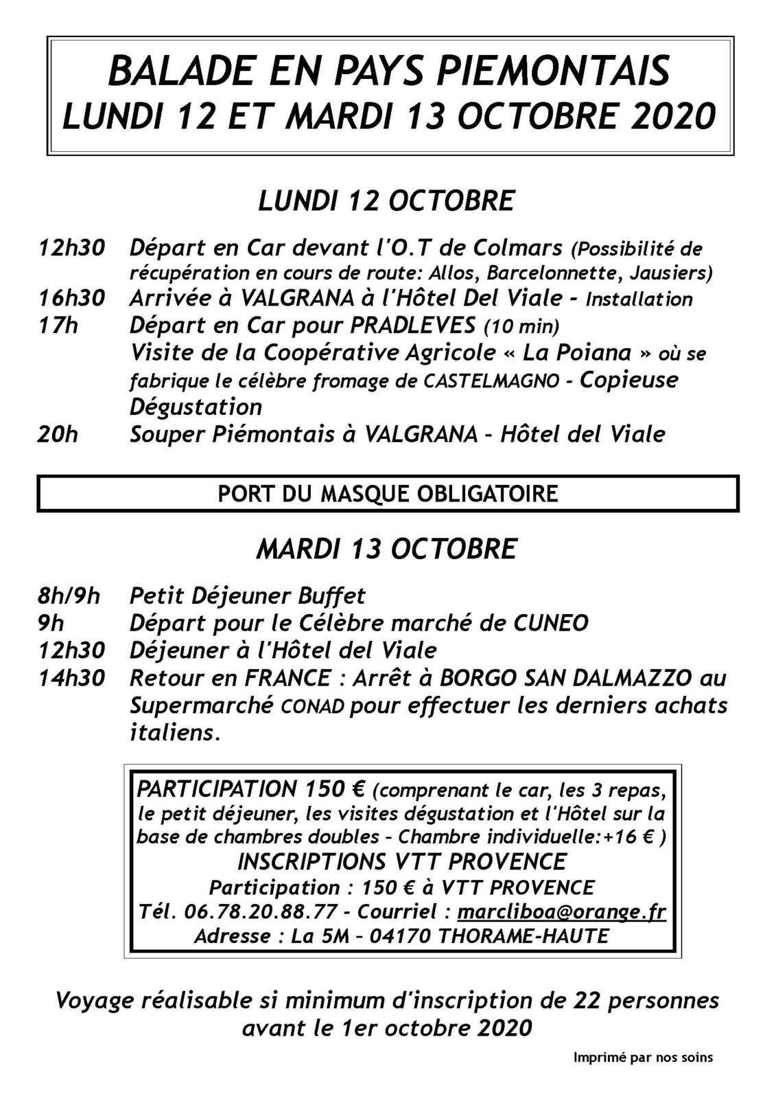Affiche ballade au pays piemontais 12 et 13 octobre  (VTT provence ) Thorame Haute