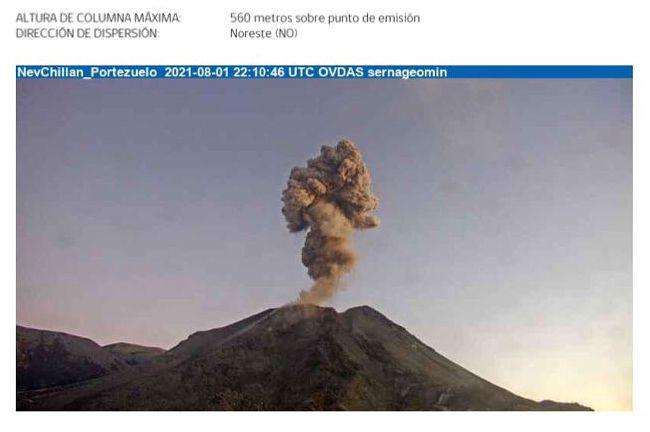 Nevados de Chillan - 01.08.2021 / 18h10 - webcam Portezuelo Sernageomin