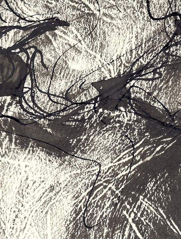 """Encre noire sur papier """"Elephant"""", 50 cm x 70 cm, à partir d'un modèle vivant. Détails du dessin"""