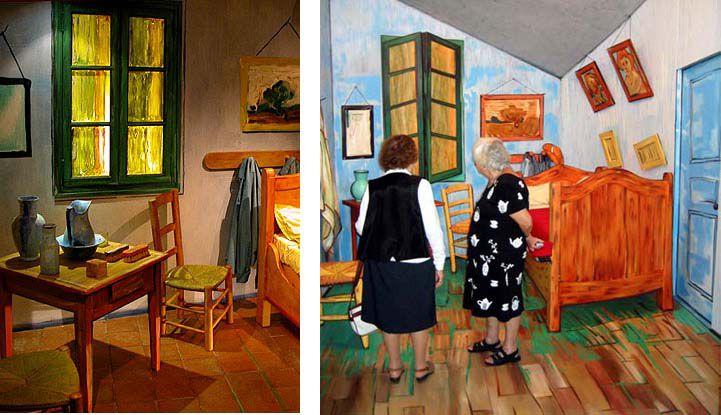 Reste que pour vivre l'expérience du tableau jusqu'au bout, il vous est maintenant possible, grâce à La chambre de Vincent (près des arènes), de visiter une reconstitution de la chambre mais telle qu'on la voit dans le tableau.