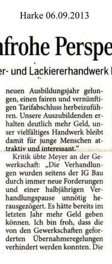 Harke 6.9.13 -- mehr Geld für Maler- und Lackierer-Azubis