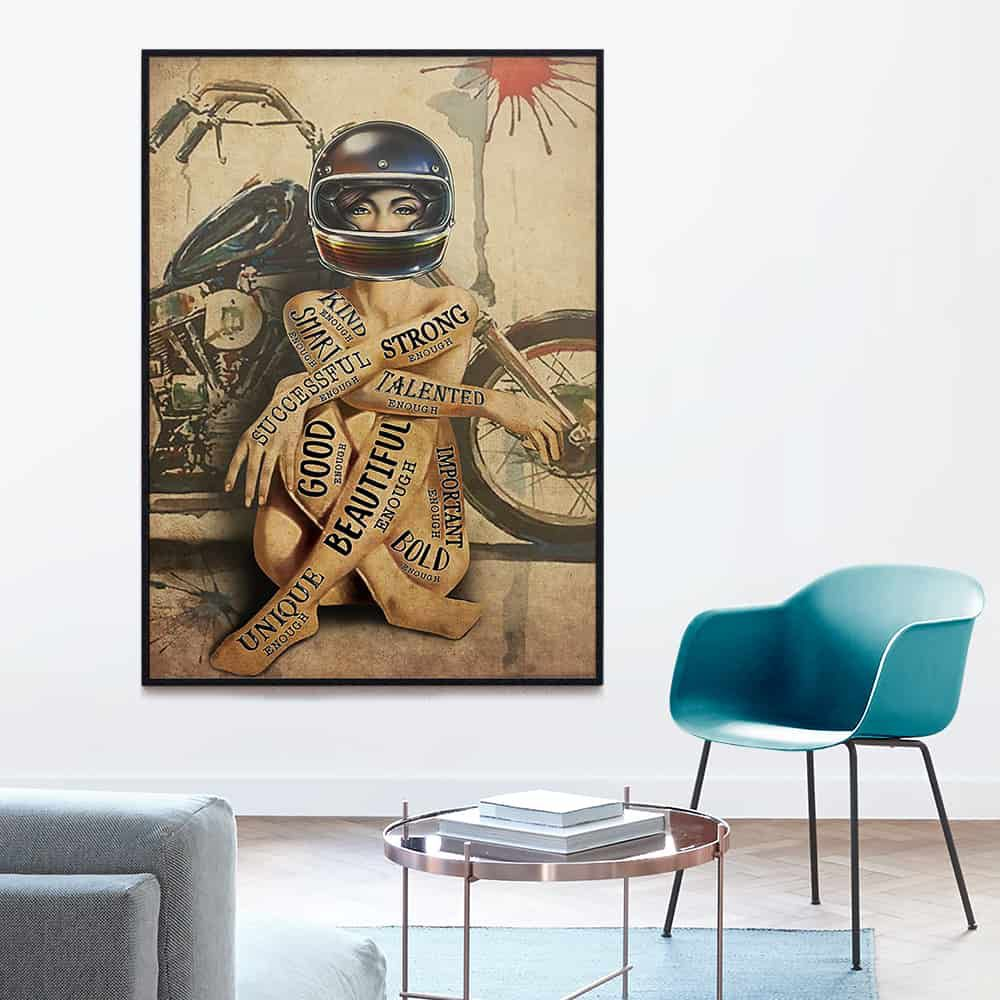 Motorcycle Girl I Am Enough Beautiful Successful Talented Kind Enough poster, canvas