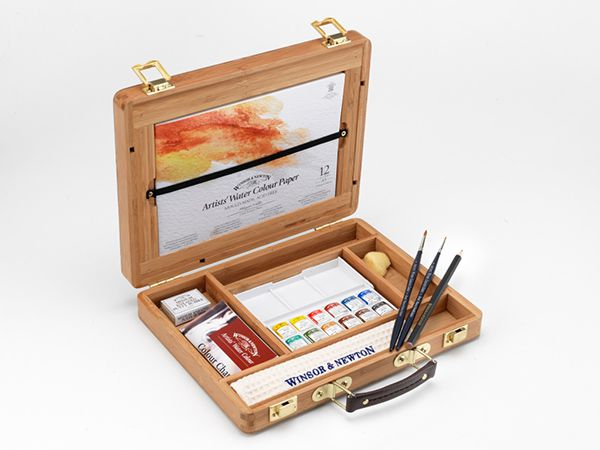 094376998436-W&N PROFESSIONAL WATER COLOUR BAMBOO BOX HALF PAN OPEN