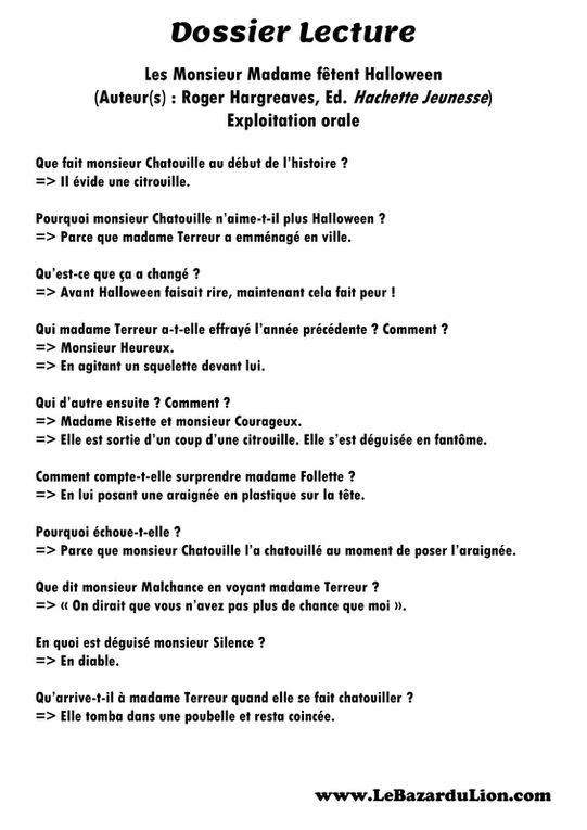 Les Monsieur Madame fêtent Halloween [Dossier Lecture][Halloween][Maternelle]