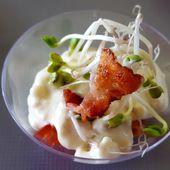 Verrines de crème de gorgonzola, tomates et bacon - Les recettes de Virginie