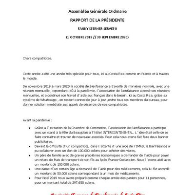RAPPORT DE LA PRÉSIDENTE - 1ER OCTOBRE 2020