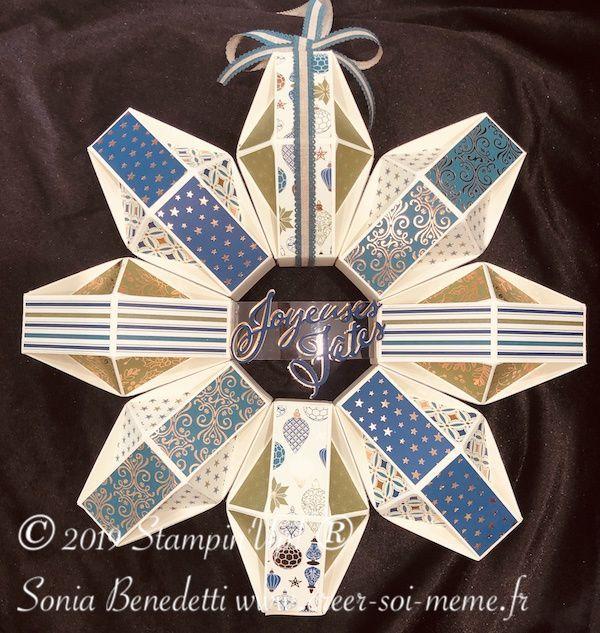 tutoriel boite pour fabriquer une couronne de noel avec les produits stampin up proposé par sonia benedetti