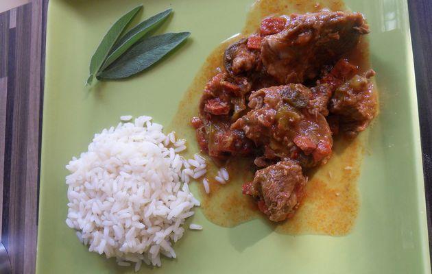 sauté de veau au chorizo et poivron vert