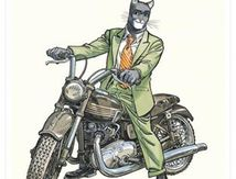 "Blacksad on his Triumph motorcycle at Attakus (Bike length 17cm). ""Unique piece non rééditable"" porcelain figurine in resin and metal wheels with metal spokes"