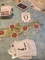 La fameuse tenaille d'Hannibal qui détruit les troupes romaines. En plus, accolé à la mer pas de retraite possible. La campagne africaine romaine s'arrête sur une bataille perdu mais une victoire stratégique : des territoires africains sont passés du coté romain et avec un général carthaginois demandant une activation de 3 ( la plus forte), cela va être dur de revenir dans la course..