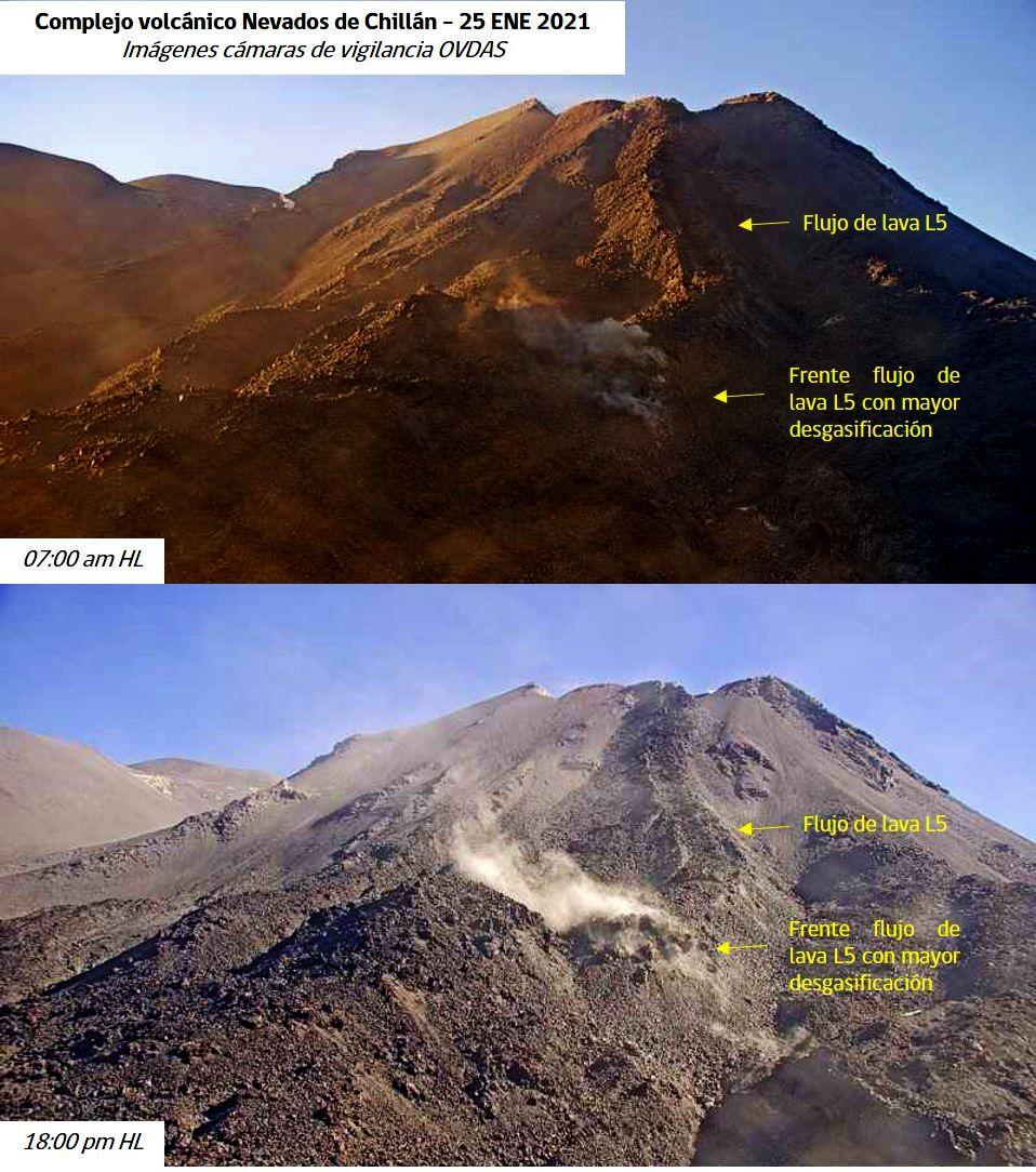 Nevados de Chillan - L5 lava flow and recurrent degassing on its front since 01/23. - photos 25.01.2021 / webcam OVDAS- Sernageomin