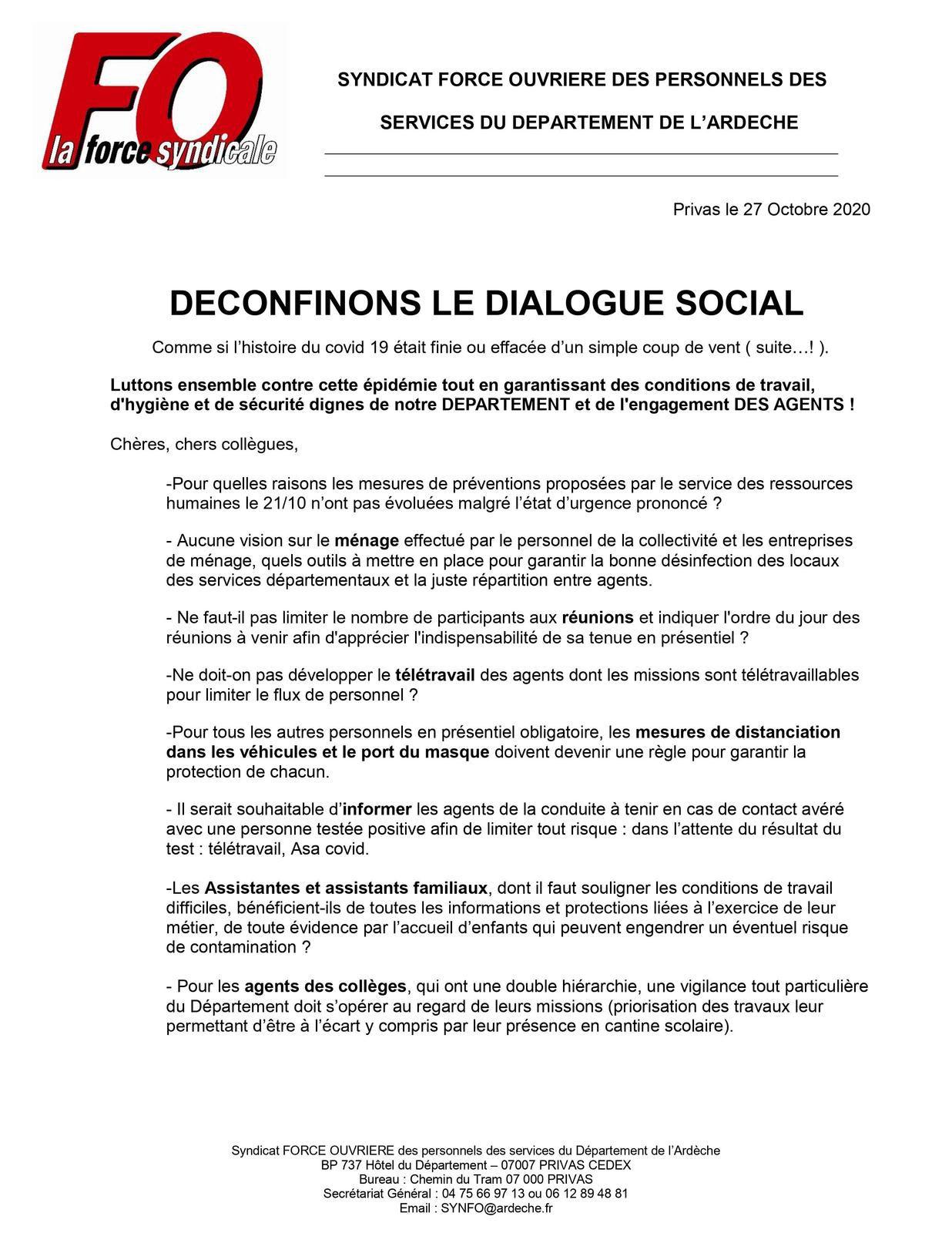 DECONFINONS LE DIALOGUE SOCIAL