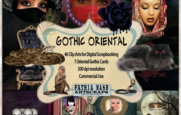 Oriental Gothic Halloween Kit scrapbooking - 46 digital images and 7 amazing cards - Commercial Use