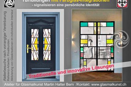 Berner Atelier für Glaskunst-Inszenierungen in der Architektur - glasmalkunst.ch in Bern Farben im Licht
