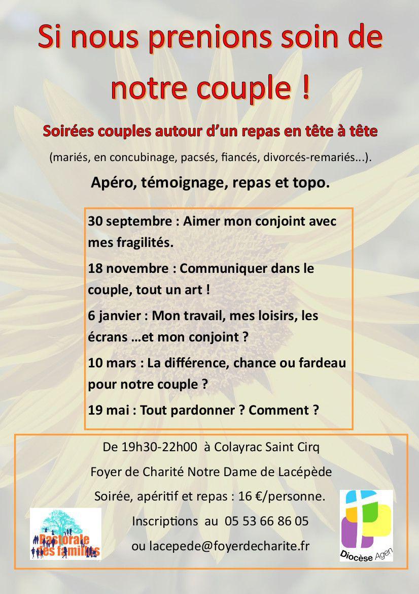 """SOIRÉE COUPLES AU FOYER DE CHARITÉ NOTRE-DAME DE LACÉPÈDE : """" SI NOUS PRENIONS SOIN DE NOTRE COUPLE ! """""""