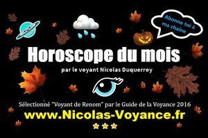 Horoscope des influences énergétiques du mois d'octobre 2020 par Nicolas Duquerroy médium et voyant