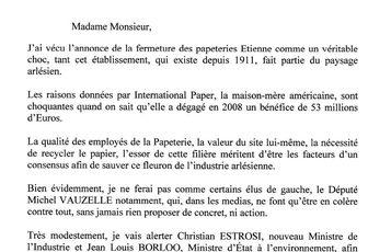 PAPETERIES ETIENNE: Communiqué de Roland Chassain