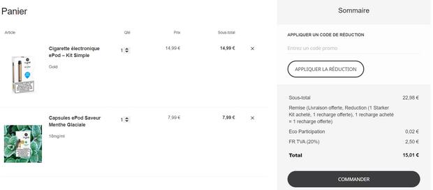 captures d'écran du site internet de Vype et des commandes passées (tous droits réservés) @ Tests et Bons Plans