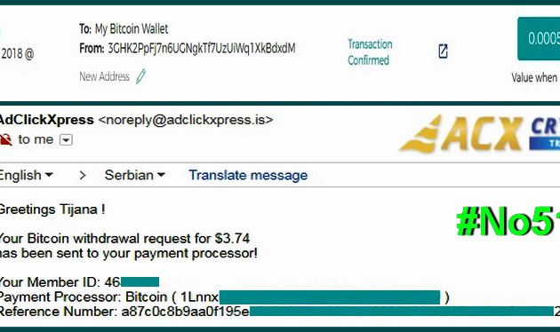 My No51 Withdrawal proof from AdClickXpressCrypto