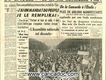 «De Gaulle : Je ne me retirerai pas J'ai un mandat du peuple je le remplirai De la Concorde à l'Étoile, plus de 600 000 manifestants», Le Figaro, 17/5/1968.