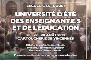 Première université d'été des enseignant.e.s et de l'éducation