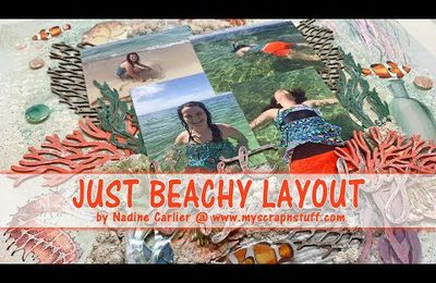 Just Beachy Mixed Media Scrapbook Layout - Technique Mixte page de scrapbooking thème la plage