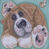 Relaxing dog cross stitch free embroidery design