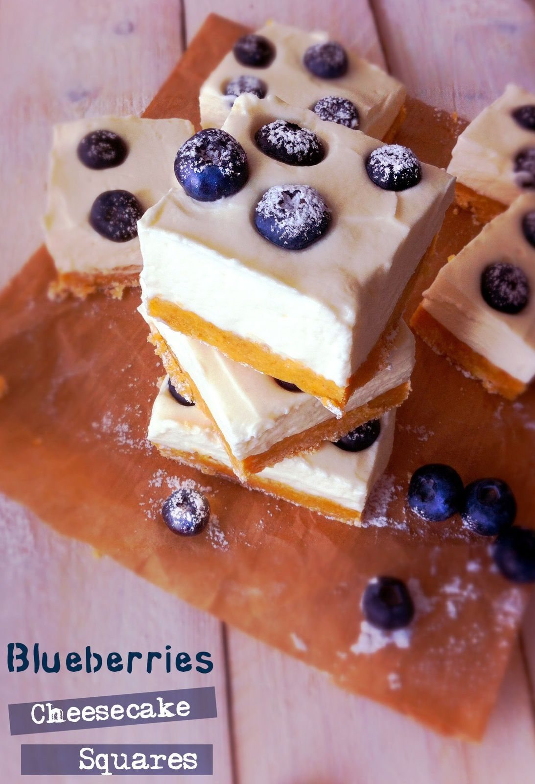 Cheesecake squares mascarpone et myrtille