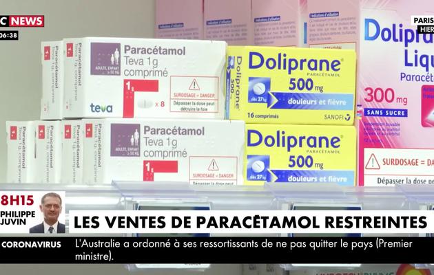 Coronavirus : Les ventes de paracétamol restreintes