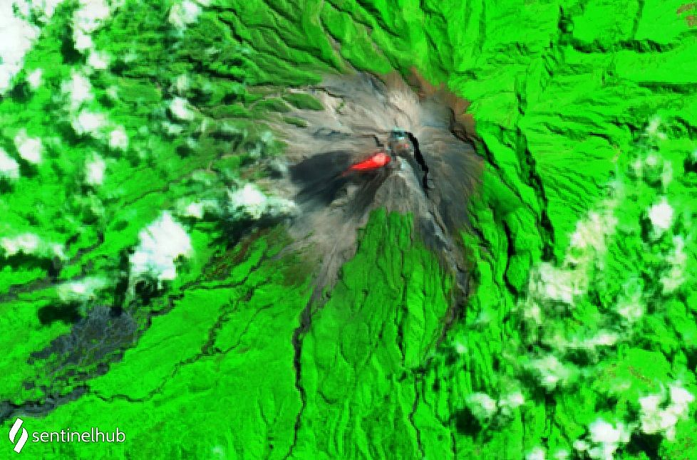 Merapi - thermal anomay - Sentinel-2 L1C SWIR image dated 11.08.202 - one click to enlarge