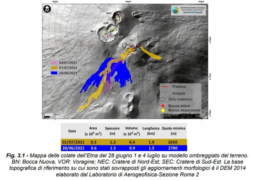 Map of the Etna flows from June 28 to July 1 and 4 on a shaded model of the terrain. BN: Bocca Nuova, VOR: Voragine; NEC: northeast crater; SEC: south-eastern crater. The base the topographic reference on which the morphological updates have been superimposed is DEM 2014 developed by the Aerogeophysical Laboratory-Section Rome 2 / via INGV OE - one click to enlarge
