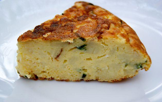 Omelette à la purée de pommes de terre