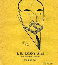 Feuillet volant publicitaire J.-H. Rosny aîné, vu par EX (Flammarion)