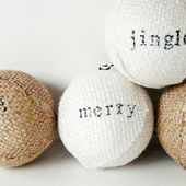 [Make] Stamped Burlap Ornaments