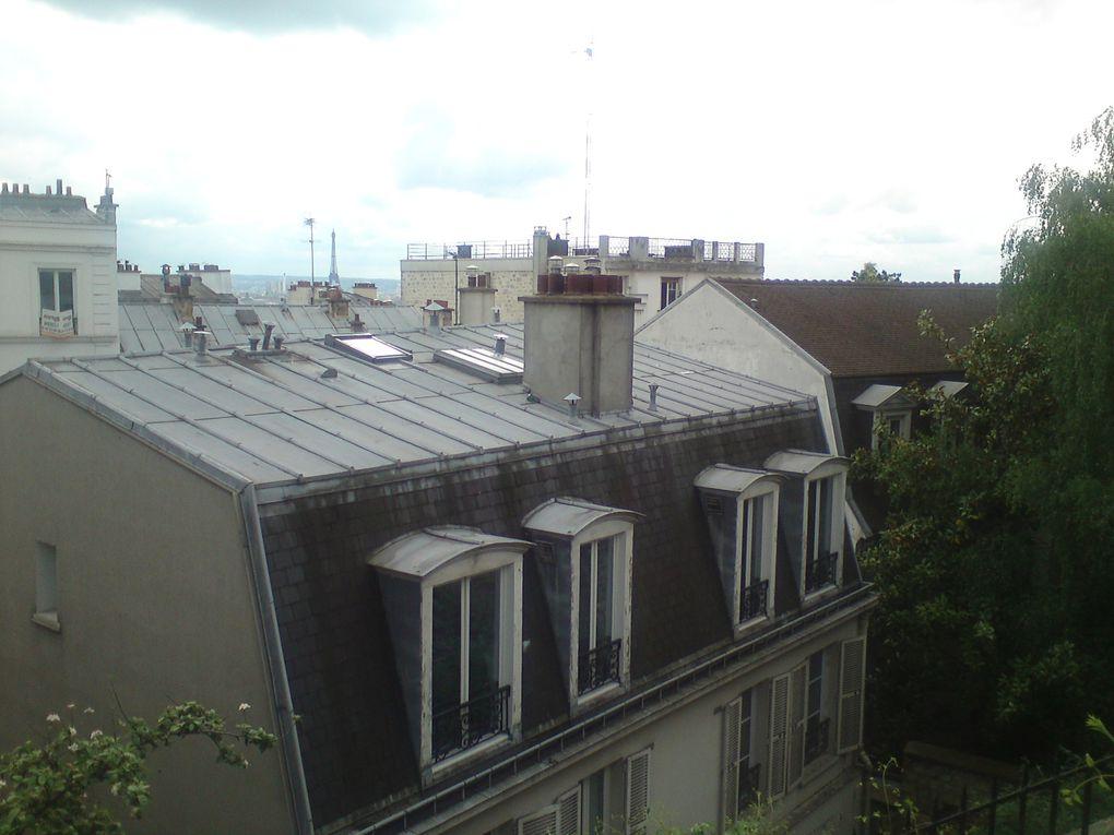 La tour Eiffel vue de la rue St Éleuthère située au bas de la Basilique du Sacré-Coeur