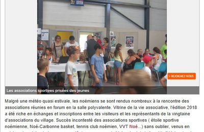 Article La dépêche du midi forum des associations Noé 2018...