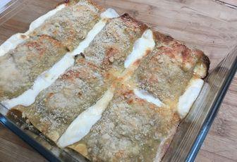 Pâtes à lasagne roulées au jambon et champignons