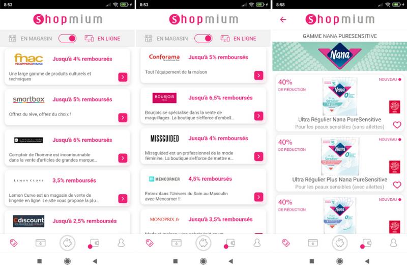 captures d'écran du site et de l'application smartphone - Shopmium (tous droits réservés) @ Tests et Bons Plans