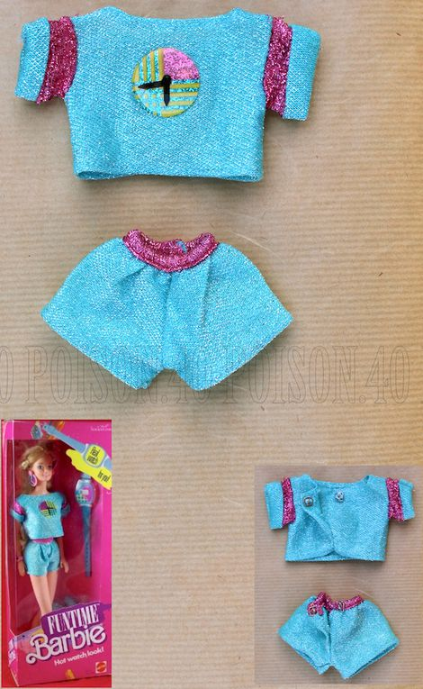 """FUNTIME"" BARBIE DOLL CLOTHES 1986 MATTEL #3717"