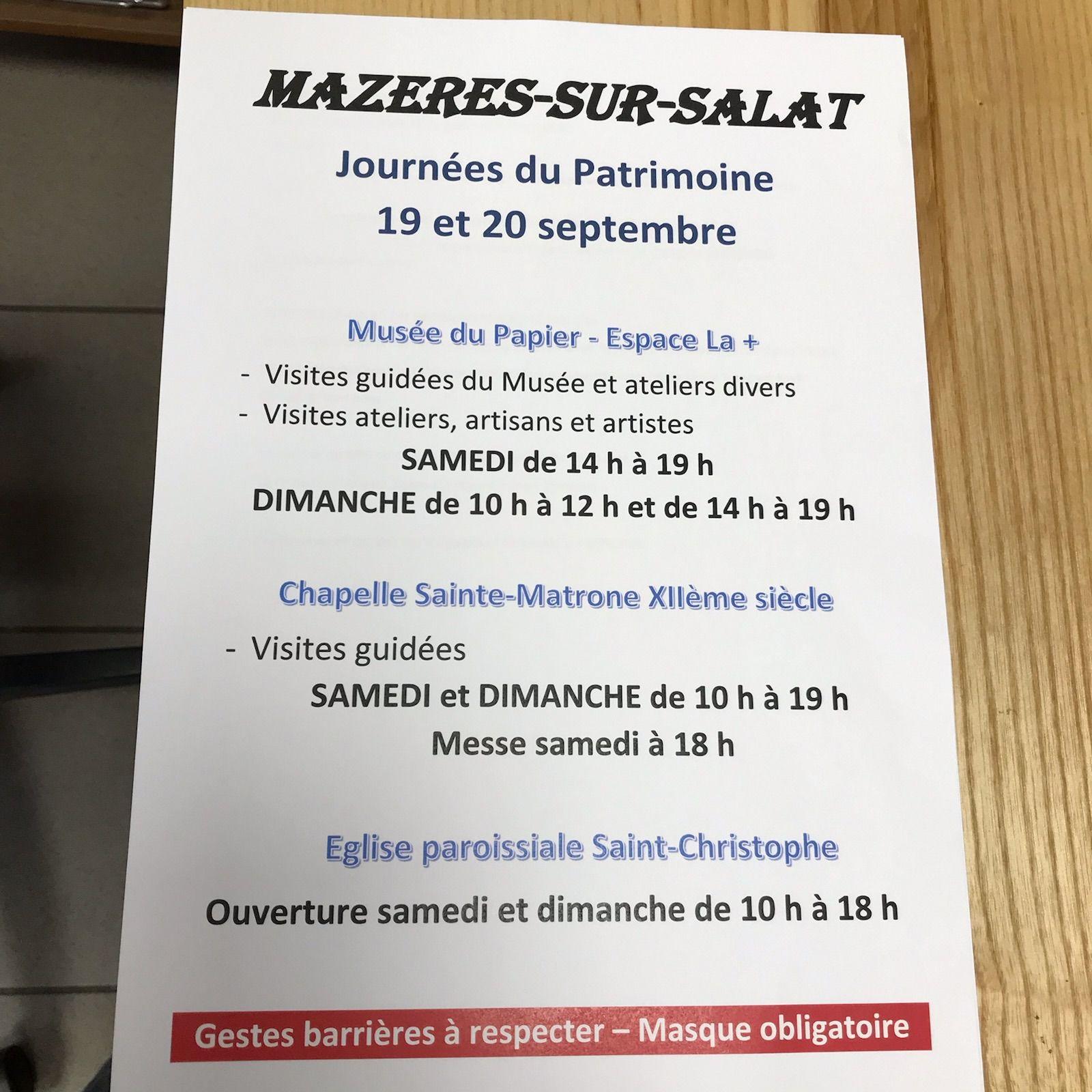 Mazères sur Salat - Journées du Patrimoine 19 et 20 septembre