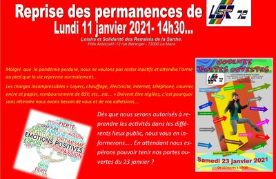 Reprise des permanences 11/01/2021