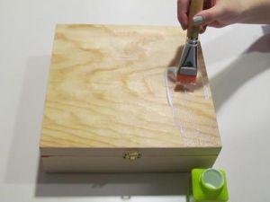 Avec du papier décopatch, je customise ma boîte à thé