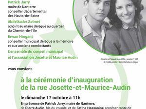 17 Octobre 11h Inauguration de la rue Josette et Maurice Audin à Nanterre