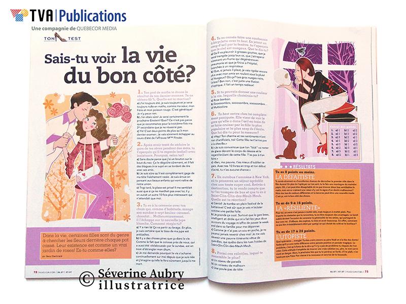 """Illustrations pour test presse """"sais-tu voir la vie du bon côté?"""" - Filles clin d'oeil  mag (Québec) - 2007"""